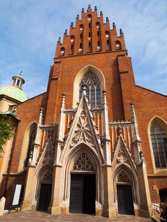 Front view of Dominican Church of Holy Trinity in Krakow (Poland) photo