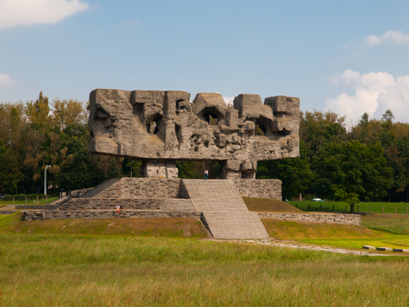 martyrdom: Monument of Struggle and Martyrdom with staircase in Nazi concentration camp Majdanek (Poland)