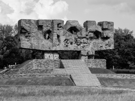 martyrdom: Monument of Struggle and Martyrdom with staircase in Nazi concentration camp Majdanek (Poland). In black and white.