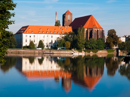 our lady: View of Piasek Island with Church of Our Lady, Wroclaw, Poland Stock Photo