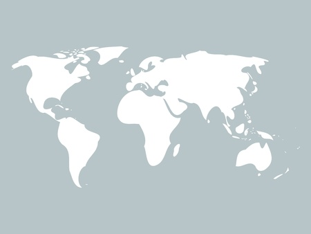 Simplified world map with rounded edges on blue background
