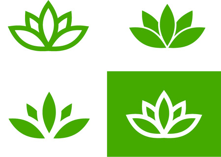 japanese flower: Four green lotus silhouettes set, vector illustration