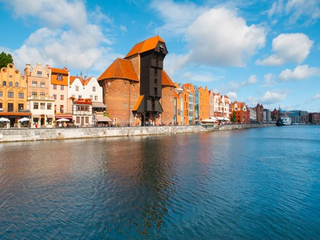 Old town of Gdansk with Motlawa river and ancient crane, Poland