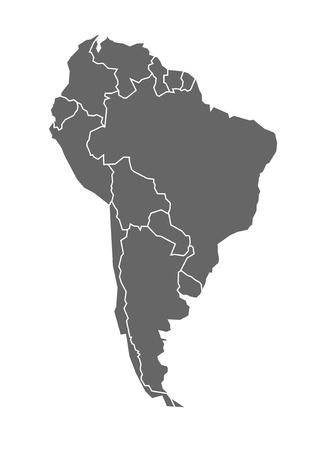 mapa Jižní Ameriky v šedé barvě s státech a hranicemi
