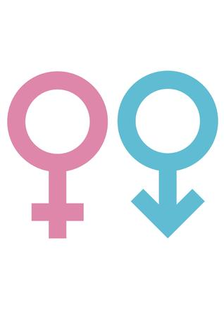 Gender signs for male and female, circles with cross and arrow