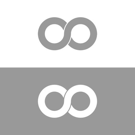 Infinity symbol in grey and white, endless, infinite Çizim