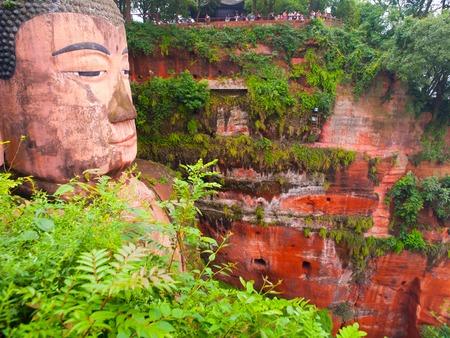 stone buddha: Leshan Giant Buddha, Dafo, Le Shan City, Sichuan, China Stock Photo