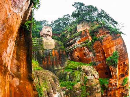 chinese buddha: Leshan Giant Buddha in Dafo, Le Shan City, Sichuan, China Stock Photo