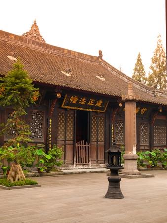 Courtyard in Wenshu Buddhist Monastery, Manjushri, Chengdu in Sichuan Province, China