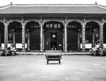 Courtyard in Wenshu Buddhist Monastery, Manjushri, Chengdu in Sichuan Province, China, black and white image