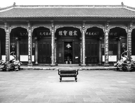 grey scale: Courtyard in Wenshu Buddhist Monastery, Manjushri, Chengdu in Sichuan Province, China, black and white image