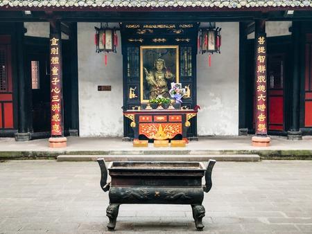 solemn land: Courtyard in Wenshu Buddhist Monastery, Manjushri, Chengdu in Sichuan Province, China