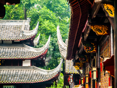 gables: Buddhist temple with typical gables, architectural detail, Wenshu Temple in Chengdu, Sichuan, China