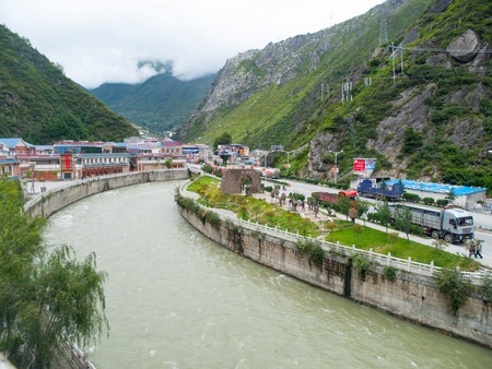 tibetan house: Kangding mountain city in western Sichuan, China, officially Lucheng or Darzedo Editorial