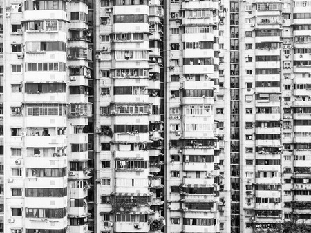 detailed view: Old apartments in block of flats, Chongqing, China, detailed view