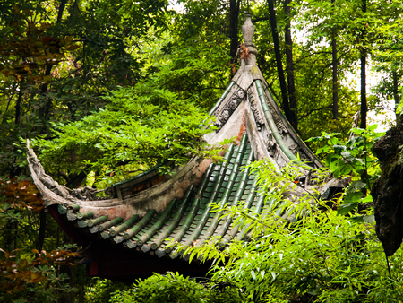 buddhist temple roof: Buddhist temple roof hidden in the greenery, China Stock Photo