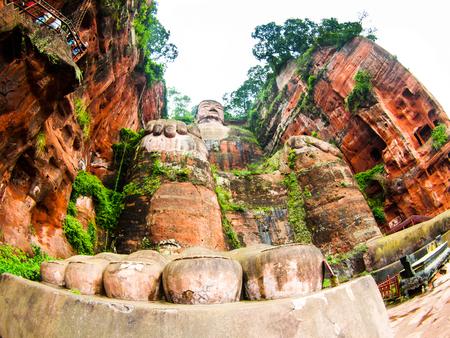 stone buddha: Giant Buddha in Leshan, Sichuan, China, view from bottom