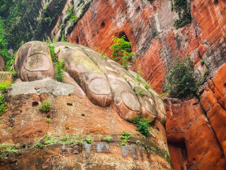 stone buddha: Giant Hand of Buddha in Leshan, Sichuan, China