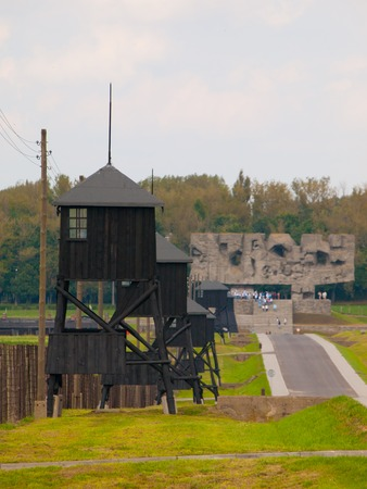 concentration camp: Guard towers in Majdanek concentration camp, Lublin, Poland