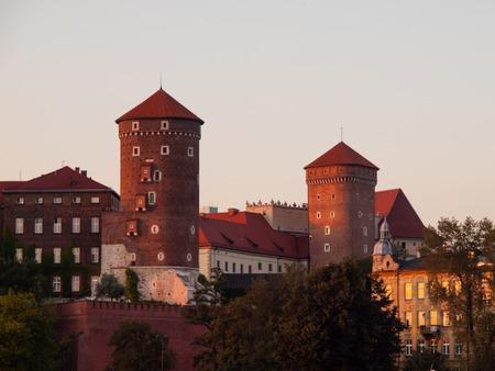 polska monument: Wawel Royal Castle before sunset, Krakow, Poland