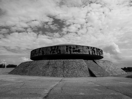 concentration camp: Mausoleum in Majdanek concentration camp, Lublin, Poland, black and white image