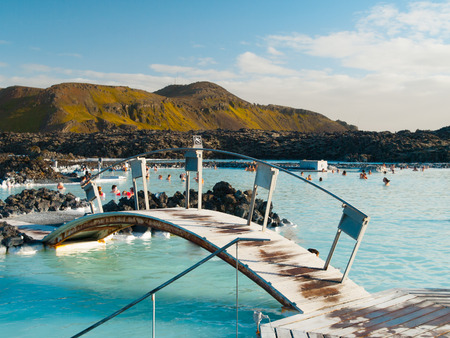 therapy geothermal: Blue Lagoon geothermal bath resort in Iceland