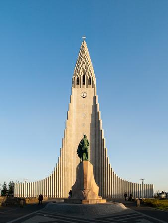 ericsson: White Lutheran Cathedral Hallgrimskirkja and Leif Ericsson statue in Reykjavik, Iceland