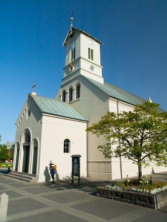 lutheran: Domkirkjan, small lutheran church in the centre of Reykjavik, Iceland Stock Photo
