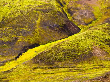 geothermal: Green algae in geothermal area, Landmannalaugar, Iceland Stock Photo