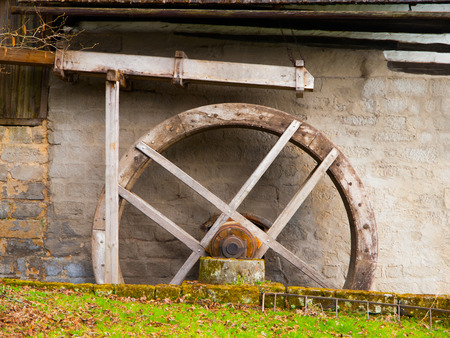 waterwheel: Old mill water wheel without water, no motion