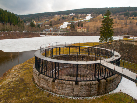 Dam spillway funnel without water, Labe Dam, Czech Republic photo