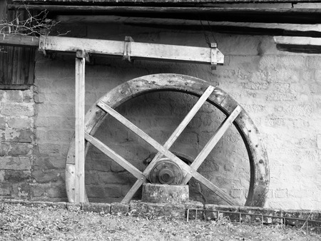 waterwheel: Old mill water wheel without water, no motion, black and white image
