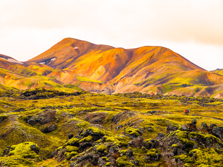Landmannalaugar rainbow mountains in Fjallabak Nature Reserve, Iceland photo