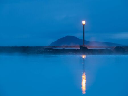 Blue lagoon hot spring spa near Myvatn lake in northern Iceland photo