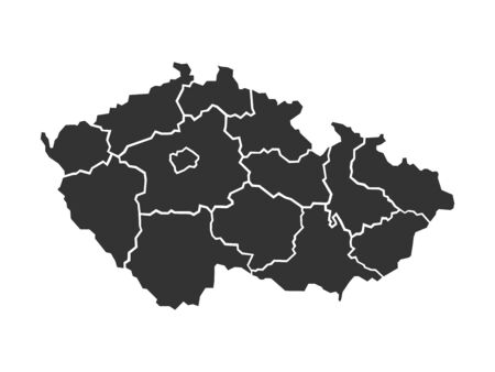 Illustrated map of Czech Republic with administrative regions, illustration