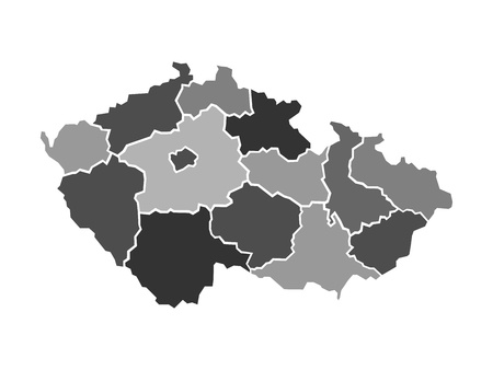 Illustrated map of Czech Republic with administrative regions, vector illustration Ilustrace