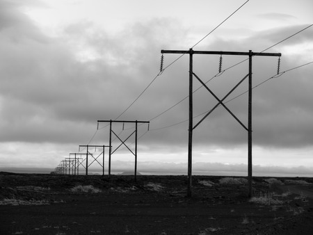 wood pillars: Icelnadic landscape with typical power lines, black and white image