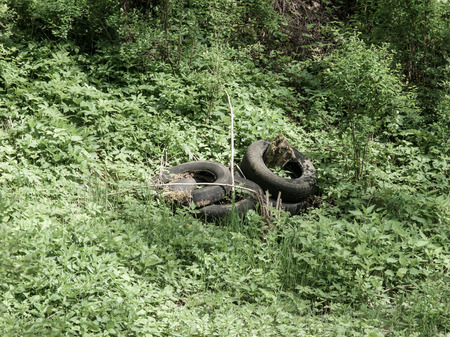 waste disposal: Scrap tyres in the nature, illegal waste disposal