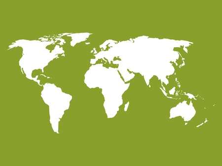 White silhouette of world map on green background, vector illustration