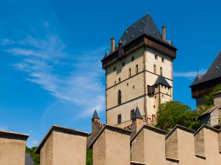 gothic castle: Great Tower of Kalstejn Royal Castle, gothic castle in Central Bohemia, Czech Republic Editorial