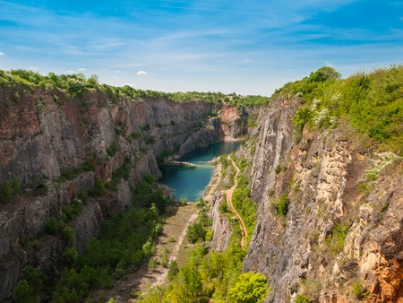 Old lime quarry called Big Amerika in Central Bohemia, Czech Republic