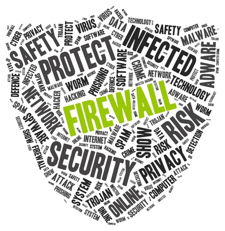 Firewall word cloud with another PC protection tags, vector illustration Vector