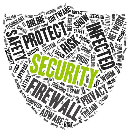 Security word cloud with another PC protection tags, vector illustration Ilustração