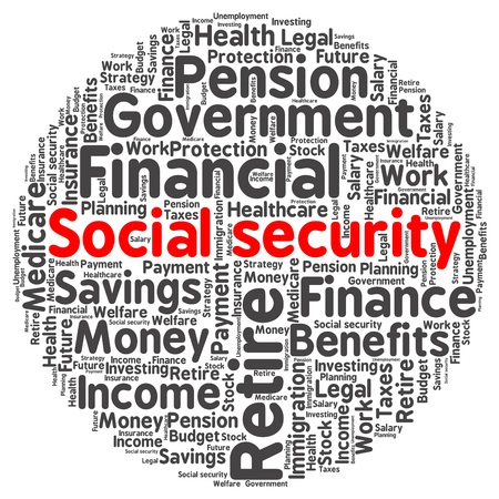 Social security word cloud in a shape of circle Illustration