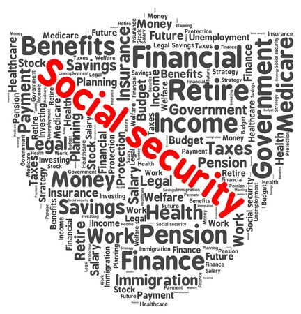 Social security word cloud in a shape of shield Vector