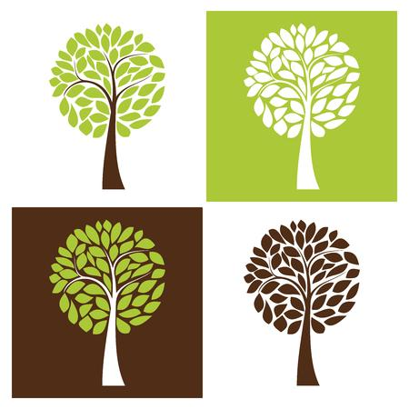 Simple vector tree set, four color variants Vector