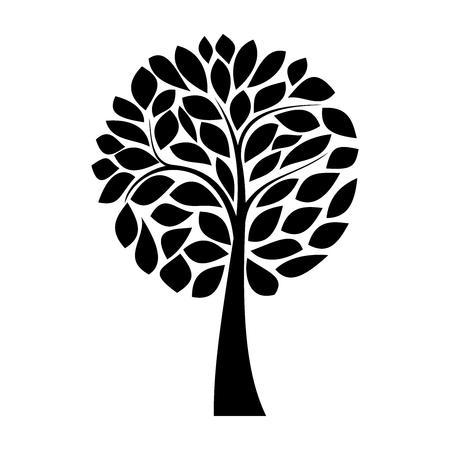 arboles blanco y negro: Simple silueta del árbol negro sobre fondo blanco