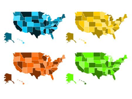nuance: Blank political map of USA set in four colors - vector illustration Illustration