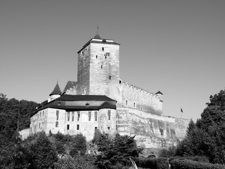 lapidary: Czech gothic castle Kost in Bohemian Paradise, Czech Republic, black and white image Editorial