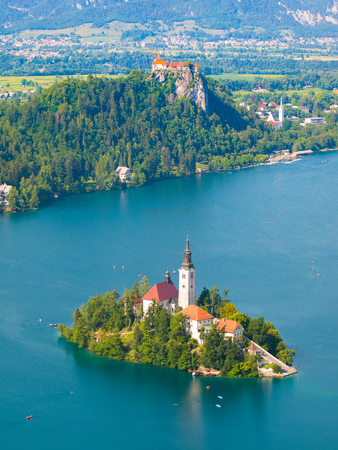 karawanks: Bled lake with island church and Bled castle, Slovenia
